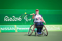 20160910 Copyright onEdition 2016©<br /> Free for editorial use image, please credit: onEdition<br /> <br /> Wheelchair Tennis Player, Louise Hunt, from Wanborough, Swindon, competing for ParalympicsGB at the Rio Paralympic Games 2016.<br />  <br /> ParalympicsGB is the name for the Great Britain and Northern Ireland Paralympic Team that competes at the summer and winter Paralympic Games. The Team is selected and managed by the British Paralympic Association, in conjunction with the national governing bodies, and is made up of the best sportsmen and women who compete in the 22 summer and 4 winter sports on the Paralympic Programme.<br /> <br /> For additional Images please visit: http://www.w-w-i.com/paralympicsgb_2016/<br /> <br /> For more information please contact the press office via press@paralympics.org.uk or on +44 (0) 7717 587 055<br /> <br /> If you require a higher resolution image or you have any other onEdition photographic enquiries, please contact onEdition on 0845 900 2 900 or email info@onEdition.com<br /> This image is copyright onEdition 2016©.<br /> <br /> This image has been supplied by onEdition and must be credited onEdition. The author is asserting his full Moral rights in relation to the publication of this image. Rights for onward transmission of any image or file is not granted or implied. Changing or deleting Copyright information is illegal as specified in the Copyright, Design and Patents Act 1988. If you are in any way unsure of your right to publish this image please contact onEdition on 0845 900 2 900 or email info@onEdition.com