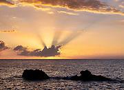 Volcanic ocean rocks at sunset, Negril, Jamaica