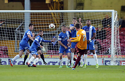 Bradford City's Adam Reach scores the opening goal from a free-kick  - Photo mandatory by-line: Joe Dent/JMP - Mobile: 07966 386802 18/04/2014 - SPORT - FOOTBALL - Bradford - Valley Parade - Bradford City v Peterborough United - Sky Bet League One
