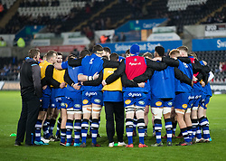 Bath Rugby team huddle during the pre match warm up<br /> <br /> Photographer Simon King/Replay Images<br /> <br /> Anglo-Welsh Cup Round 4 - Ospreys v Bath Rugby - Friday 2nd February 2018 - Liberty Stadium - Swansea<br /> <br /> World Copyright © Replay Images . All rights reserved. info@replayimages.co.uk - http://replayimages.co.uk