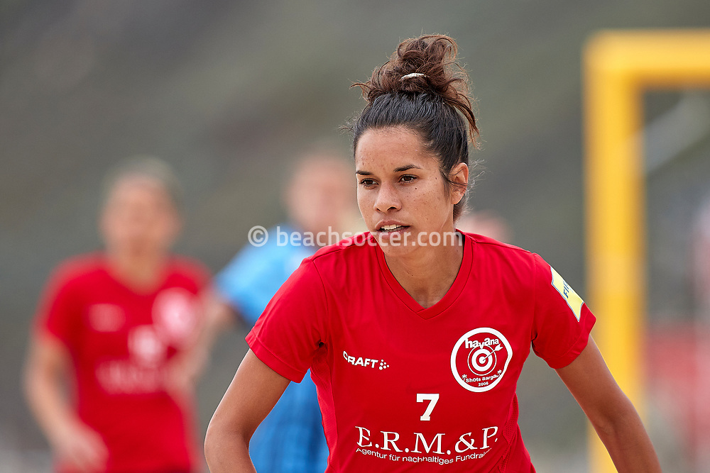 NAZARE, PORTUGAL - JUNE 6: Sara Garcia of BSC Havana Shots during the Euro Winners Cup Nazaré 2019 at Nazaré Beach on June 6, 2019 in Nazaré, Portugal. (Photo by Jose M. Alvarez)