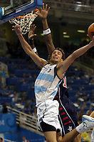 27/08/04 - ATHENS  - GREECE -  - BASKETBALL SEMIFINAL MATCH   - Indoor Olympic Stadium - <br />ARGENTINA win (89) over USA United States of America (81) <br />Argentine celebration after win the match.<br />Argentine player N*5 EMANUEL GINOBILI.<br />© Gabriel Piko / Argenpress.com / Piko-Press