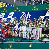Podium LMP1 (1. #19 Porsche, 2. #17 Porsche, 3. #7 Audi) at Le Mans 24H, 2015