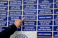 A general view of plaques of names outside the stadium ahead of the Premier League match at the King Power Stadium, Leicester.