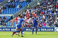 Bristol City's Tomos Kalas (22) heads towards goal during the EFL Sky Bet Championship match between Cardiff City and Bristol City at the Cardiff City Stadium, Cardiff, Wales on 28 August 2021.