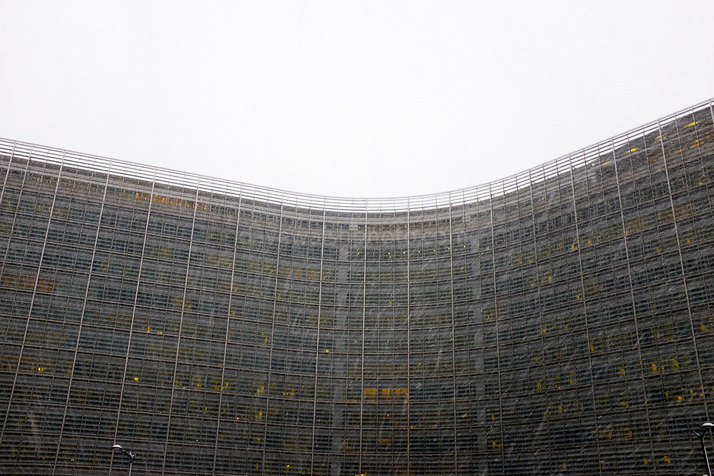 """European Commission Berlaymont building, Brussels, in morning snow shower, December 2017. This mage can be licensed via Millennium Images. Contact me for more details, or email mail@milim.com For prints, contact me, or click """"add to cart"""" to some standard print options."""