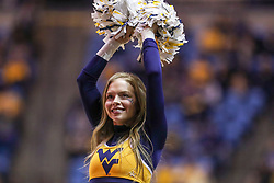 Dec 1, 2019; Morgantown, WV, USA; A West Virginia Mountaineers cheerleader performs during the second half against the Rhode Island Rams at WVU Coliseum. Mandatory Credit: Ben Queen-USA TODAY Sports