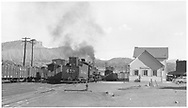 """D&RGW #453 switching in front of the Durango depot which has no chimneys (1950's).<br /> D&RGW  Durango, CO  ca. 1955<br /> In book """"Durango: Always a Railroad Town (1st ed.)"""" page 31"""