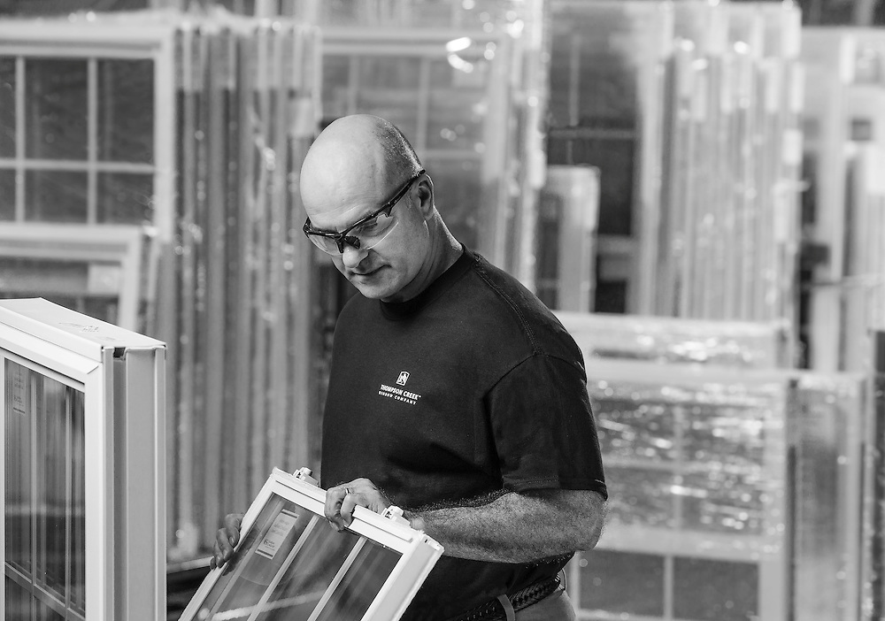inspection a newley finished window in the Thompson Creek Window factory