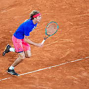 PARIS, FRANCE September 25. Alexander Zverev of Germany while playing a practice match against Pablo Carreno Busta on Court Philippe-Chatrier in preparation for  the 2020 French Open Tennis Tournament at Roland Garros on September 25th 2020 in Paris, France. (Photo by Tim Clayton/Corbis via Getty Images)