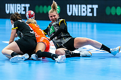 Kelly Dulfer of Netherlands, Kim Naidzinavicius of Germany, Marlene Zapf of Germany in action during the Women's EHF Euro 2020 match between Netherlands and Germany at Sydbank Arena on december 14, 2020 in Kolding, Denmark (Photo by RHF Agency/Ronald Hoogendoorn)