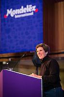 Irene Rosenfeld CEO of Mondalez addressing staffers.