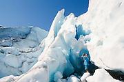 Alaska, Valdez. Tourist on Worthington Glacier.