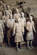 Terracotta army warriors at tomb of Emperor Qin Shi Huangdi at Lingtong in Xian, China