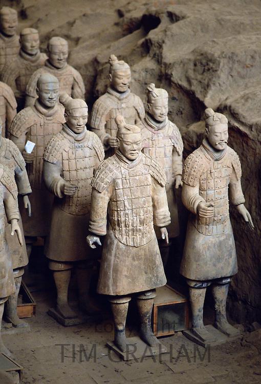 Terracotta army warriors at tomb of Emperor Qin Shi Huangdi at Lingtong in Xian, China