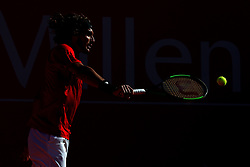May 3, 2018 - Estoril, Portugal - Stefanos Tsitsipas of Greece returns a ball to Kevin Anderson of South Africa during the Millennium Estoril Open ATP 250 tennis tournament, at the Clube de Tenis do Estoril in Estoril, Portugal on May 3, 2018. (Credit Image: © Pedro Fiuza/NurPhoto via ZUMA Press)
