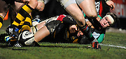 Wycombe, GREAT BRITAIN,   Harlequins' Jim EVAN, hangs onto Chris BISHAY, after his [Evan's] tackle, knocks the ball loose, during the London Wasps vs Harlequins, rugby match  at Adam's Park Stadium, Bucks on Sun 04.01.2009. [Photo, Peter Spurrier/Intersport-images]