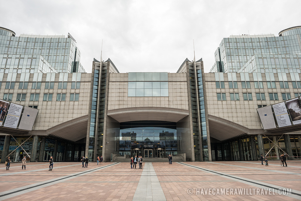 Entrance to the European Parliament Building in Brussels, Belgium.