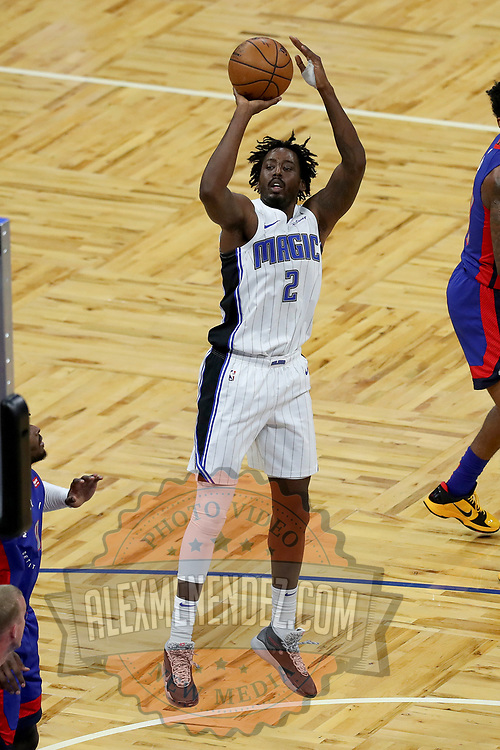 ORLANDO, FL - FEBRUARY 23:  Al-Farouq Aminu #2 of the Orlando Magic shoots the ball against the Detroit Pistons at Amway Center on February 23, 2021 in Orlando, Florida. NOTE TO USER: User expressly acknowledges and agrees that, by downloading and or using this photograph, User is consenting to the terms and conditions of the Getty Images License Agreement. (Photo by Alex Menendez/Getty Images)*** Local Caption *** Al-Farouq Aminu