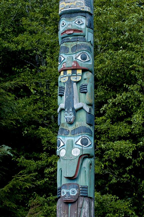 Ketchikan, Alaska. Saxman Totem Park along the coastal waters of the Inside Passage.