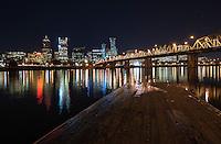 Portland Skyline and Hawthorne Bridge at Night<br /> <br /> Shot in Portland, OR, USA