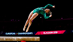 Ireland's Meaghan Smith dismounts off the beam during day one of the 2018 European Championships at The SSE Hydro, Glasgow.