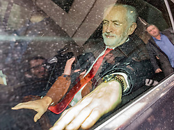 © Licensed to London News Pictures. 13/01/2019. London, UK. Labour Party Leader Jeremy Corbyn leaves BBC Broadcasting House in a car after appearing on The Andrew Marr Show. Photo credit: Rob Pinney/LNP