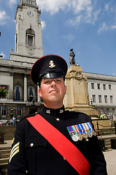 Colour Sgt Leon Egbury Freedom Parade 3rd Battalion The Yorkshire Regiment Barnsley South Yorkshire  22 June 2010 .Images © Paul David Drabble.