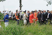 State Visit of the presidentof Chili , Michelle Bachelet to the Netherlands.<br /> <br /> On the photo Presedent of Chili, Michelle Bachelet, Queen Beatrix and Princes Maxima arrive At the Castle of Doorwerth to have a lunch