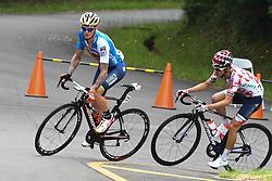 May 26, 2018 - Izu, Shizuoka, Japan - Slovenian rider Grega Bole (Bahrain-Merida) in action in front of Japanese rider Yuzuru Suzuki from Utsunomiya Blitzen Team, a five men breakaway during Izu stage, 120.8km on Izu-Japan Cycle Sports Center Road Circuit, the seventh stage of Tour of Japan 2018. .On Saturday, May 26, 2018, in Izu, Shizuoka Prefecture, Japan. (Credit Image: © Artur Widak/NurPhoto via ZUMA Press)