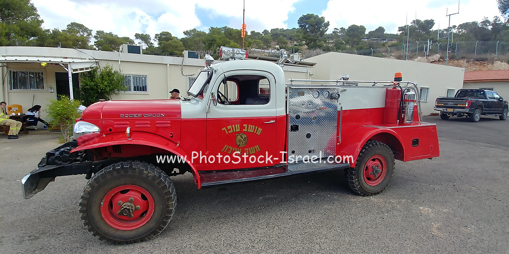 an Old fire truck in the fire brigade museum, Israel