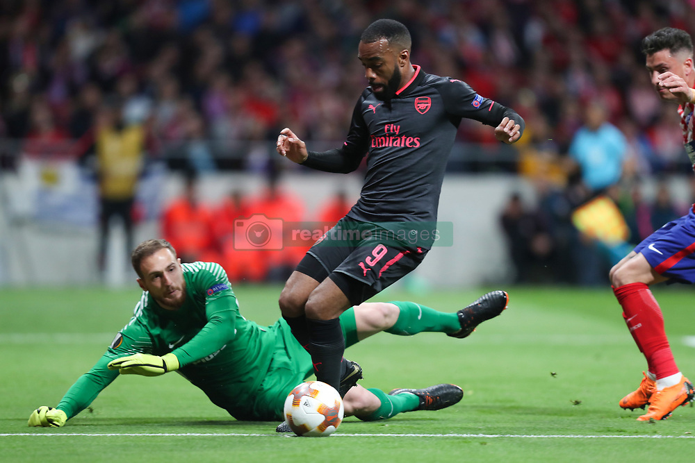May 3, 2018 - Madrid, Spain - ALEXANDRE LACAZETTE of Arsenal FC during the UEFA Europa League, semi final, 2nd leg football match between Atletico de Madrid and Arsenal FC on May 3, 2018 at Metropolitano stadium in Madrid, Spain (Credit Image: © Manuel Blondeau via ZUMA Wire)