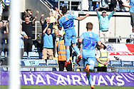Coventry City striker (on loan from Portsmouth) Conor Chaplin (10) scores a  Penalty goal and celebrates  during the EFL Sky Bet League 1 match between Oxford United and Coventry City at the Kassam Stadium, Oxford, England on 9 September 2018.