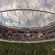 Romulo, Brazil, (not in picture) scores past Sergio Romero, Argentina, during the Brazil V Argentina International Football Friendly match at MetLife Stadium, East Rutherford, New Jersey, USA. 9th June 2012. Photo Tim Clayton