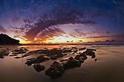Mediterranean Sunset Photographed in Israel off the shore of Kibbutz Maagan Michael