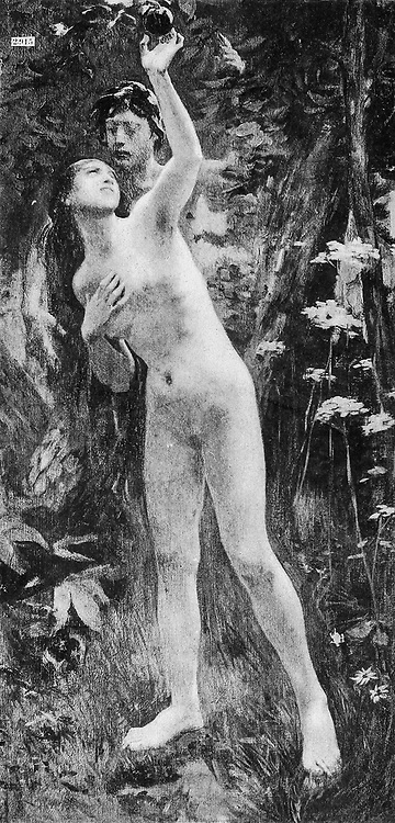 Eve et l'Esprit du Mal [Eve and the Evil Spirit] by Gorguet from Le Nu au Salon 1893 A collection of Nude photography published in Paris in 1908 by Societe nationale des beaux-arts (France). et Societe des artistes francais. Catalogues of nudes exhibited at the official Paris Salons. Risqué photography is material that is slightly indecent or liable to shock, especially as sexually suggestive.