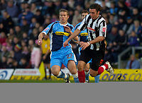 Photo: Alan Crowhurst.<br />Wycombe Wanderers v Grimsby Town. Coca Cola League 2.<br />19/11/2005. <br />Michael Reedy (R) attacks for Grimsby.