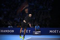 November 15, 2017 - London, England, United Kingdom - Spain's Pablo Carreno Busta returns to Austria's Dominic Thiem during their men's singles round-robin match on day four of the ATP World Tour Finals tennis tournament at the O2 Arena in London on November 15 2017. (Credit Image: © Alberto Pezzali/NurPhoto via ZUMA Press)