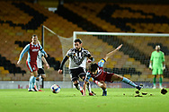David Worrall (7) of Port Vale Alex Gilliead (8) of Scunthorpe United battles for possession during the EFL Sky Bet League 2 match between Port Vale and Scunthorpe United at Vale Park, Burslem, England on 17 November 2020.