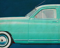 This painting of a detail, the side, of a Packard Eight Sedan 1948 gives your interior a retro look instantly.<br />