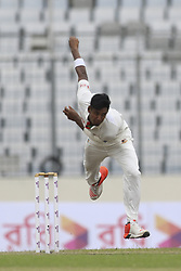 August 28, 2017 - Mirpur, Bangladesh - Bangladesh's Mustafizur Rahman bowls against Australia  during day two of the First Test match between Bangladesh and Australia at Shere Bangla National Stadium on August 28, 2017 in Mirpur, Bangladesh. (Credit Image: © Ahmed Salahuddin/NurPhoto via ZUMA Press)