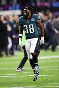 Philadelphia Eagles running back Kenjon Barner (38) jumps in the air in celebration after the Eagles win the 2018 NFL Super Bowl LII football game against the New England Patriots on Sunday, Feb. 4, 2018 in Minneapolis. The Eagles won the game 41-33. (©Paul Anthony Spinelli)