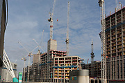 Circling the Wembley Stadium arena are new properties under construction, on 6th November 2019, in Wembley, London, England.