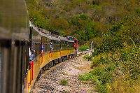 The Chihuahua al Pacifico Railroad train en route from El Fuerte to the Copper Canyon, Mexico