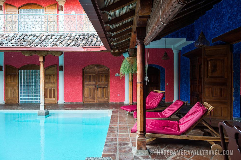 The courtyard of the Hotel Casa del Consulado, a boutique hotel in the heart of historic Granada, Nicaragua.