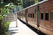 Train at station platform, Mirissa, Matara District, Southern Province, Sri Lanka