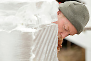 Wurtsboro, New York - Bill Bywater works on a block of ice during the ice carving competition at the Wurtsboro Winterfest on Feb. 11, 2012.
