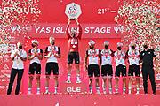 Foto LaPresse - Gian Mattia D'Alberto<br /> 27 Febbraio 2021 Abu Dhabi (Emirati Arabi Uniti)<br /> Sport Ciclismo<br /> UAE Tour 2021 -YAS ISLAND STAGE- Tappa 7 - Da Yas Mall a Abu Dhabi Breakwater -147 km.<br /> Nella foto:  UAE Emirates, miglior squadra<br /> <br /> Photo LaPresse - Gian Mattia D'Alberto<br /> February 27, 2021 Abu Dhabi (United Arab Emirates) <br /> Sport Cycling<br /> UAE Tour 2021 -DUBAI STAGE- Stage 7 - From Yas Mall at Abu Dhabi Breakwater - 91,3 miles<br /> In the pic: UAE Emirates,, best team