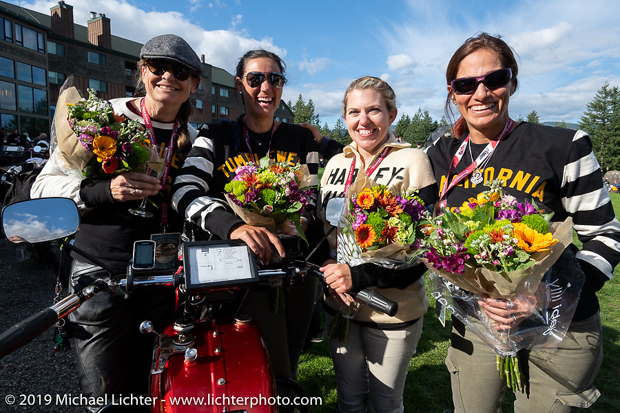 Cris Sommer Simmons, Jody Perewitz, Kersten Heling and Andrea Labarbara, the four women Cannonballers at the Skamania Lodge after the finish of the Motorcycle Cannonball coast to coast vintage run. Stage 15  (51 miles - the Grand Finish) from The Dalles to Stevenson, OR. Sunday September 23, 2018. Photography ©2018 Michael Lichter.