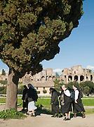 Catholic nuns and The Forum, Rome, Italy
